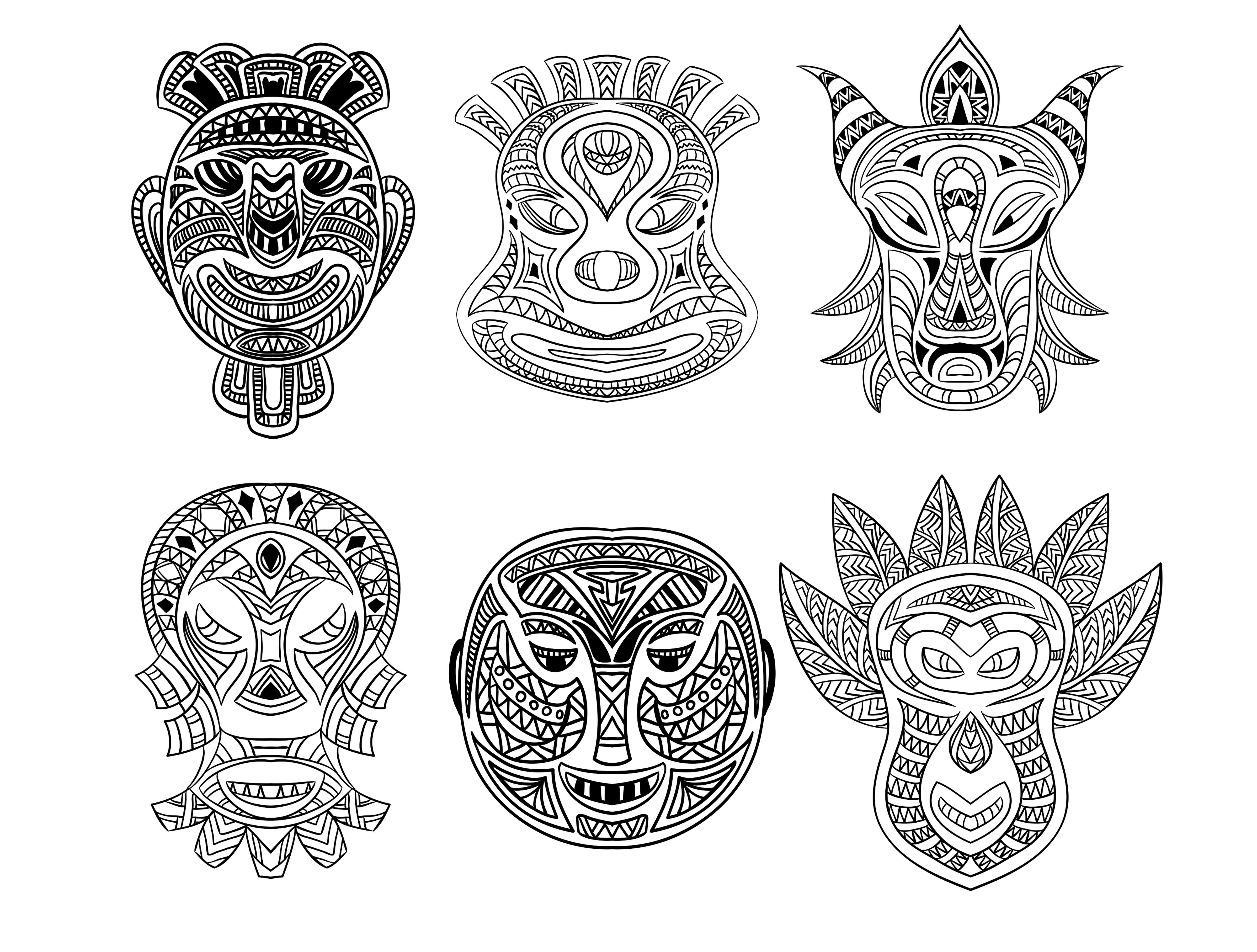 Free coloring page coloring-adult-6-african-masks. Six