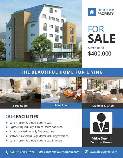 Real Estate Free PSD Flyer Template Ff Pinterest