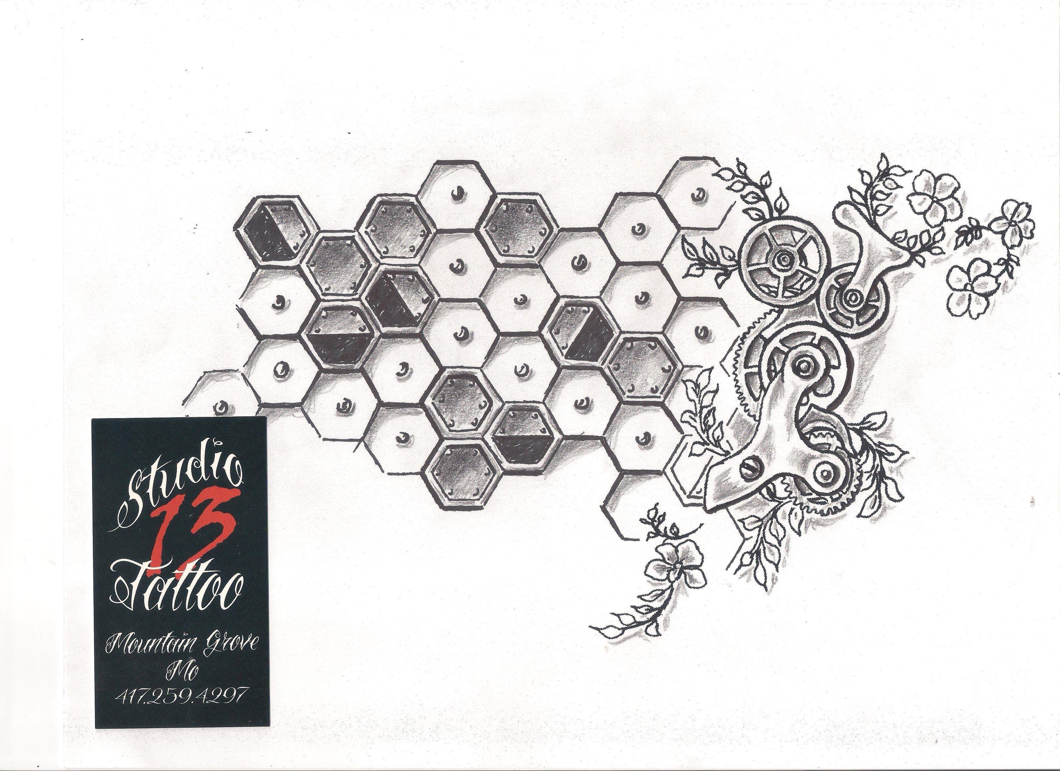 #steampunk #honeycomb #mechanical #metal #flowers #