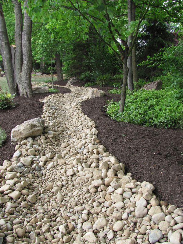 rain garden river rock channel