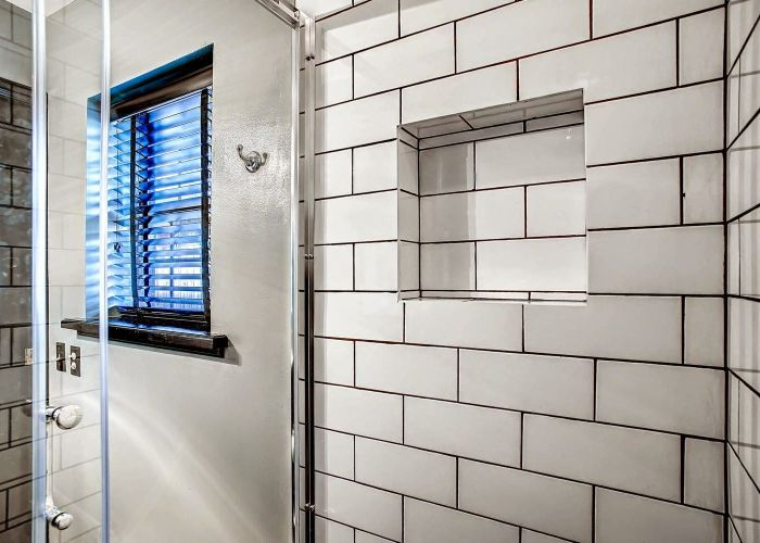 Black and white powder room remodel subway tile dark grout benjamin moore also