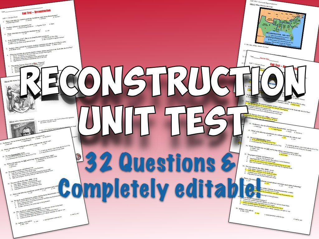 Reconstruction Unit Test And Answer Key
