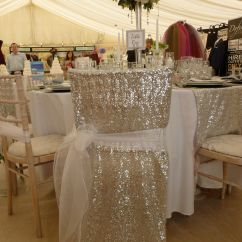 Black Glitter Chair Covers Boy High Chairs White Organza Sash Over Silver Sequin Veil By Simply