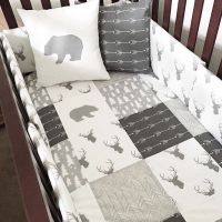Woodland nursery bedding in gray and white with bears ...