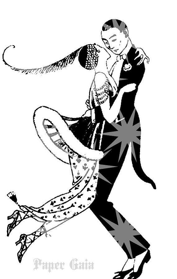 Art Deco 1920s Couple Dancing Silhouette Art Instant