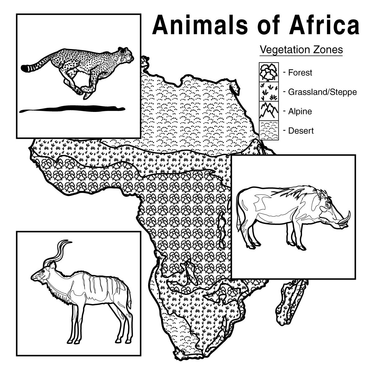 African animals with habitat / vegetation zone chart