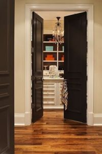 Dark doors with light trim and wood floors! Maybe even ...