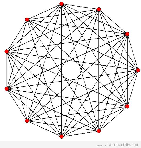 strig art free geometric pattern Hendecagon String Art