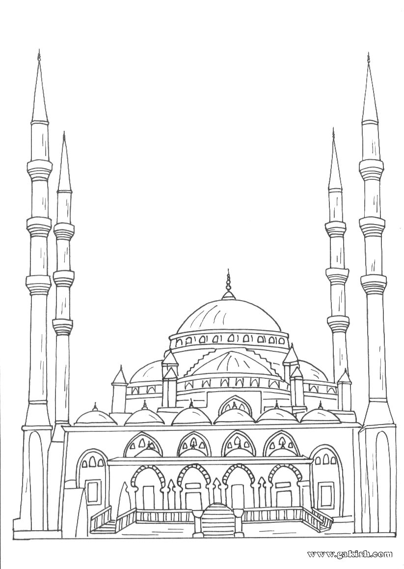 Coloring books for Muslim children. Coloring mosque Arabic