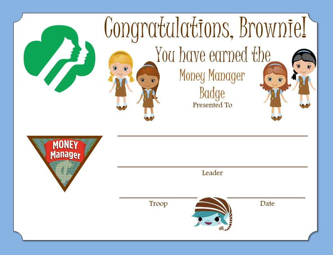 Brownie Money Manager Badge Certificate
