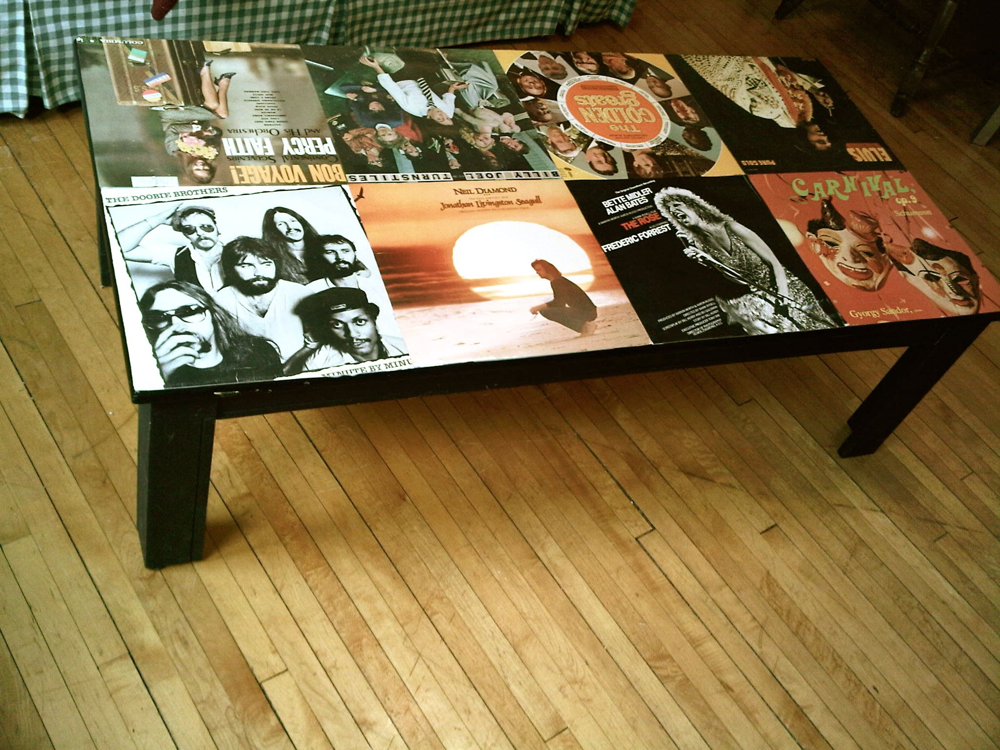 chair covers craft ideas parson chairs walmart i mod podged my coffee table with old record diy