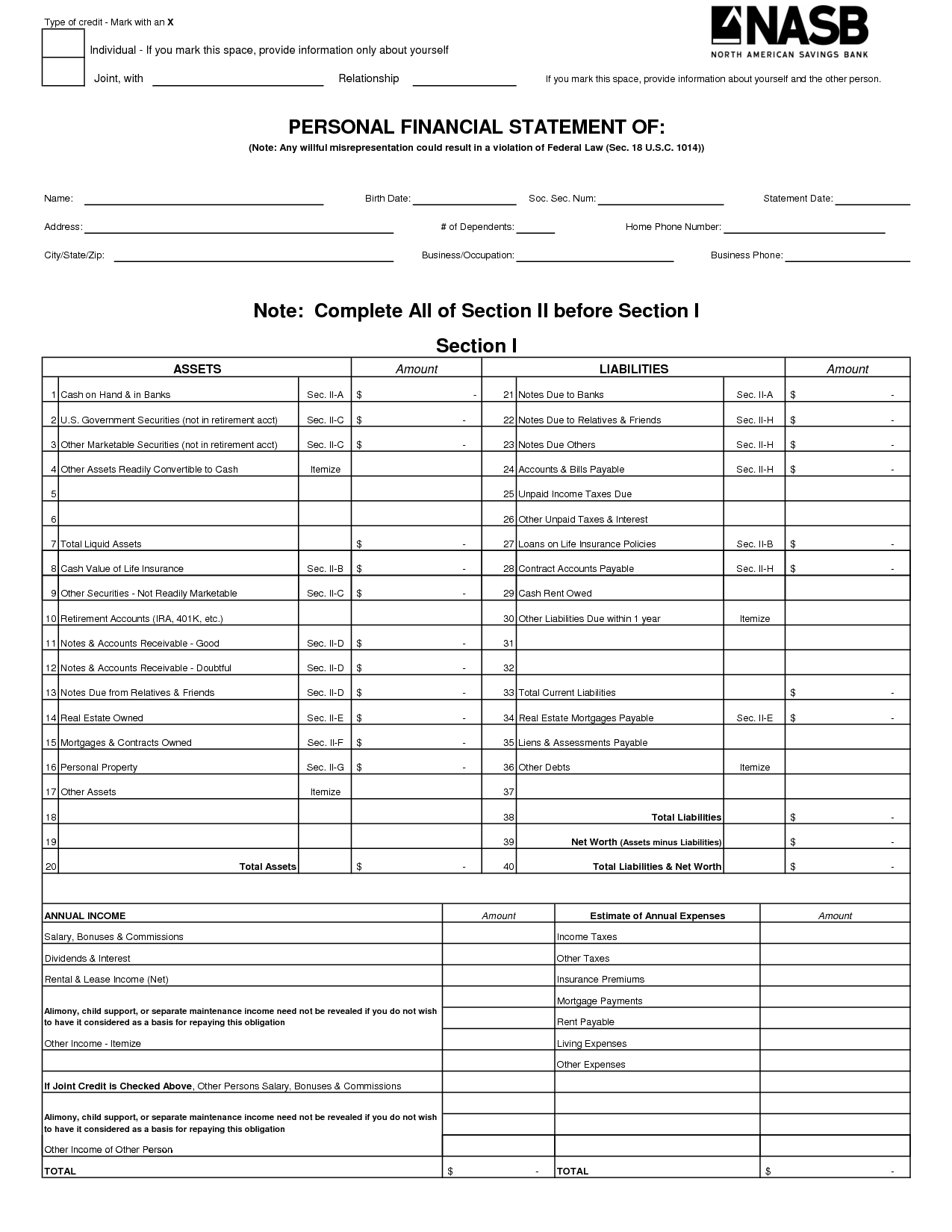 Free Printable Personal Financial Statement