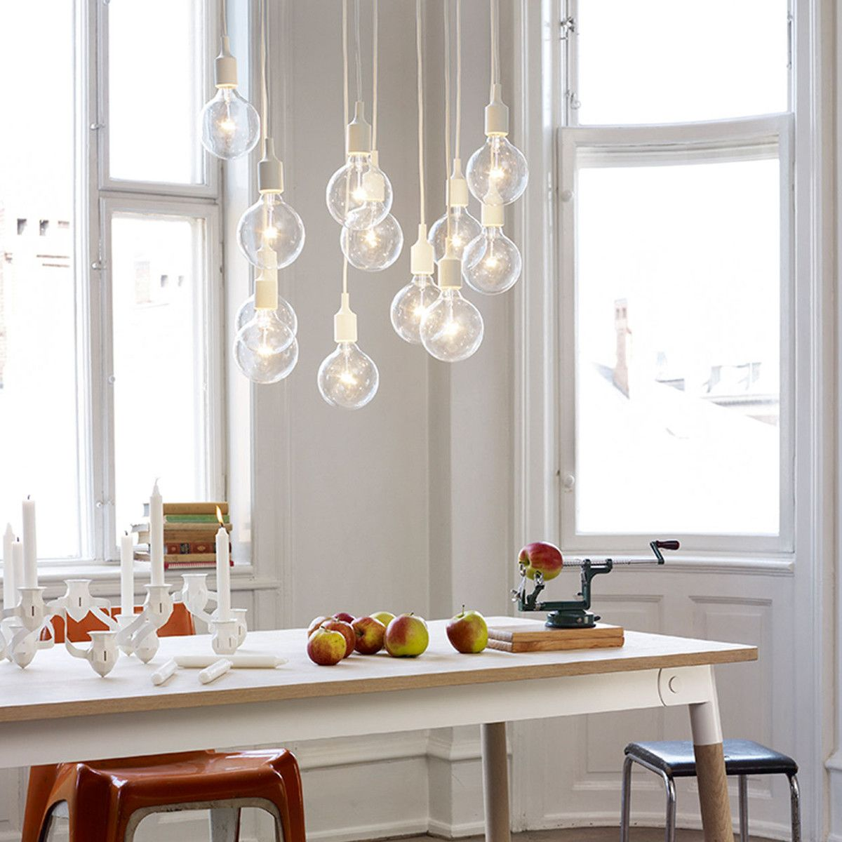 lighting over kitchen table paint cabinets without sanding cluster of e27 lamps the dining