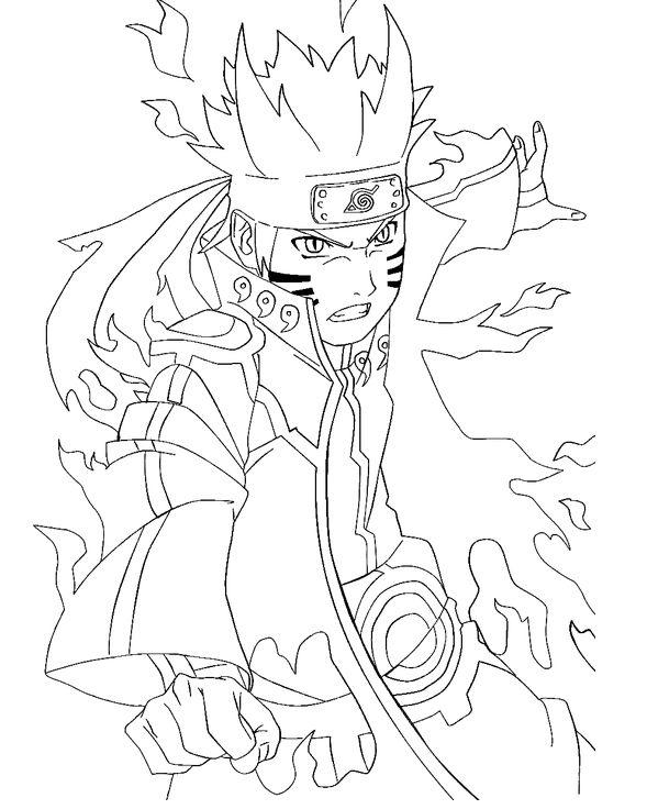 Naruto Bijuu Mode Coloring Pages For Kids Printable