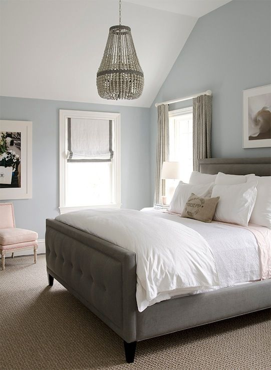 Gorgeous Bedroom With Blue Walls Paint Color Gray Linen Tufted Bed Crisp White Bedding