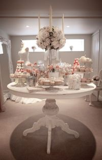 Vintage all white wedding dessert table #wedding # ...