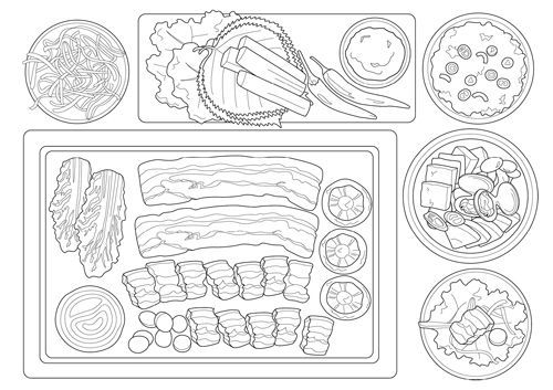 Happy Table Full of Delicious Korean Food Coloring Book