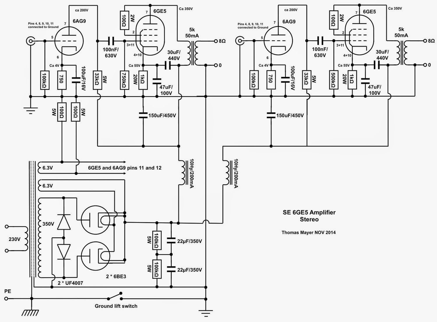 VinylSavor: 6GE5 Stereo Amplifier, Part 1 : Circuit