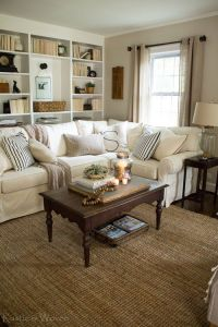 Cottage-style-living-room-with-Pottery-Barn-sectional-and ...