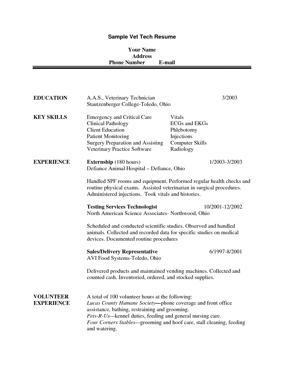 Sample Vet Tech Resume Veterinary Technician Resume Examples