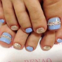Blue+Rhinestone toe nail art nailbook.jp   Fashionista ...