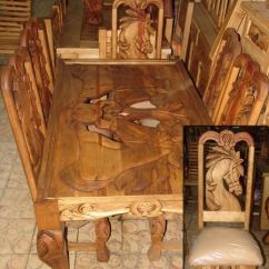 Diy Patio Sofa Plans How To Make Cushions Firm Again Horse Design Carved Dining Table | Western/rustic ...