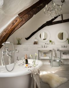 Unique home stays beautiful bathroom in modern country style with wood beams and bare claw tub also pin by courtney burstin on baths pinterest rh