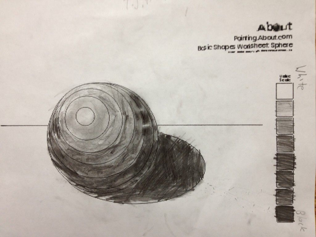 Sixth Graders Created A Value Scale And Practiced Shading A Sphere