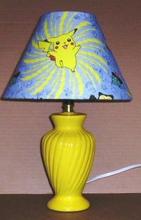 POKEMON PIKACHU FABRIC LAMP SHADE lampshade & YELLOW BASE ...