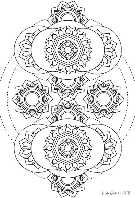 Printable Intricate Mandala Coloring Pages, Instant