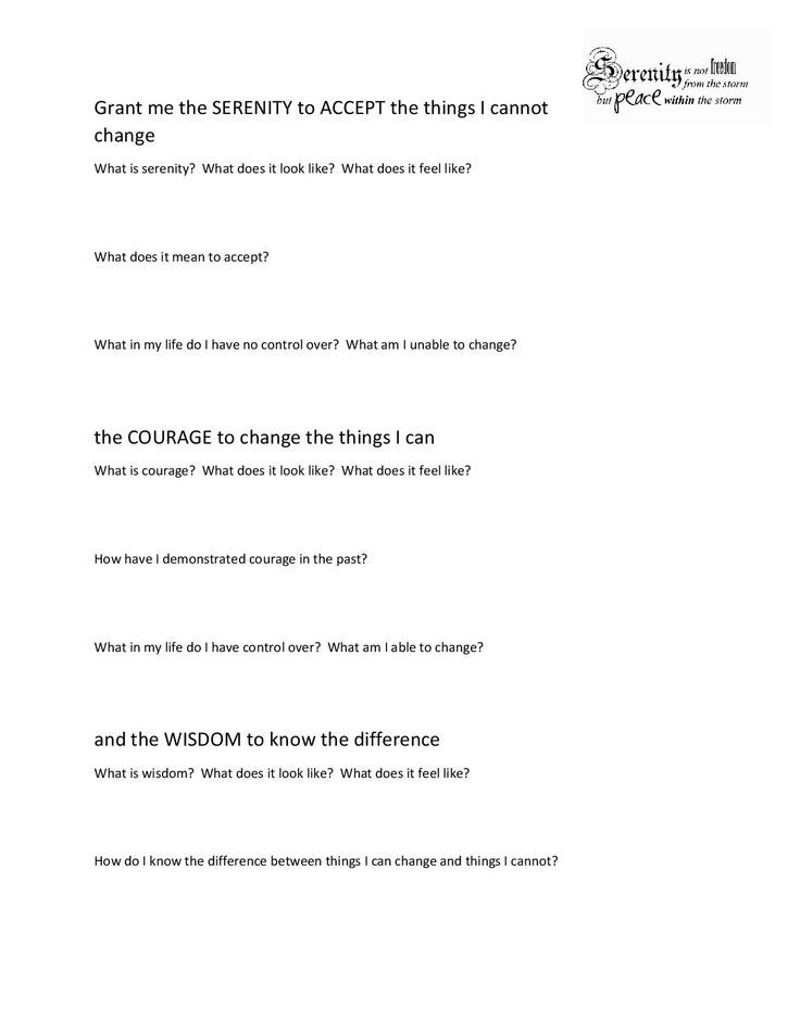 I Created This Worksheet Based On The Serenity Prayer To