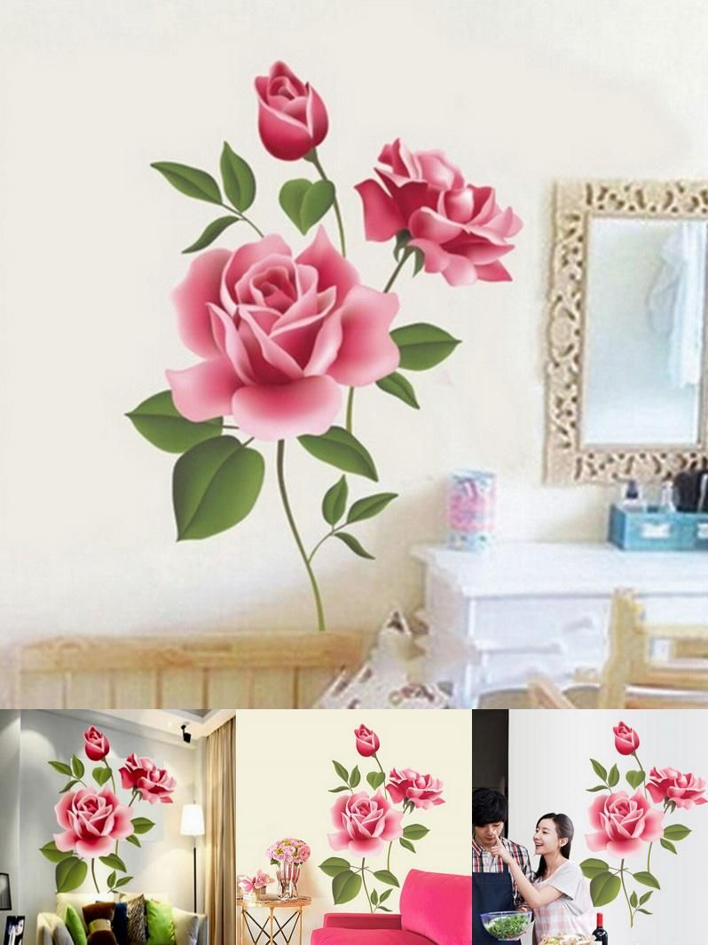 Visit to buy  rose flowers wall sticker home decor diy adhesive art mural also rh pinterest