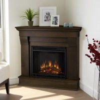 Corner gas fireplace cover