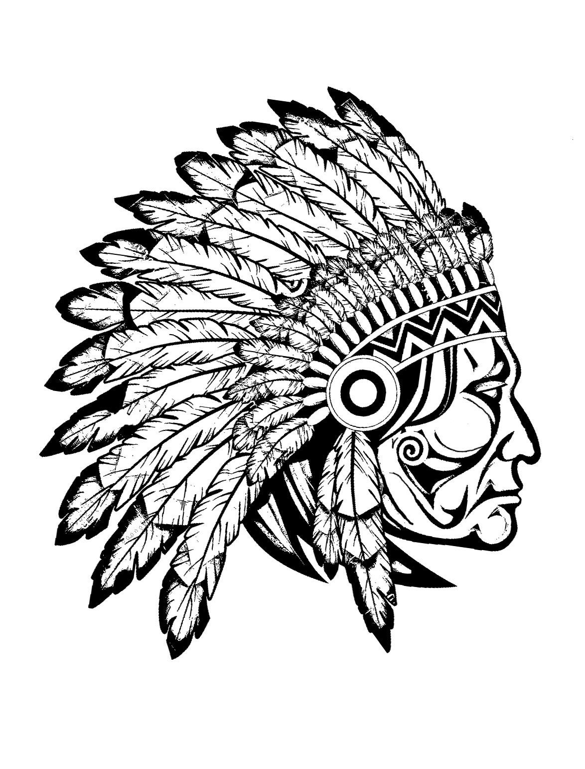 Free coloring page coloring-adult-indian-native-chief