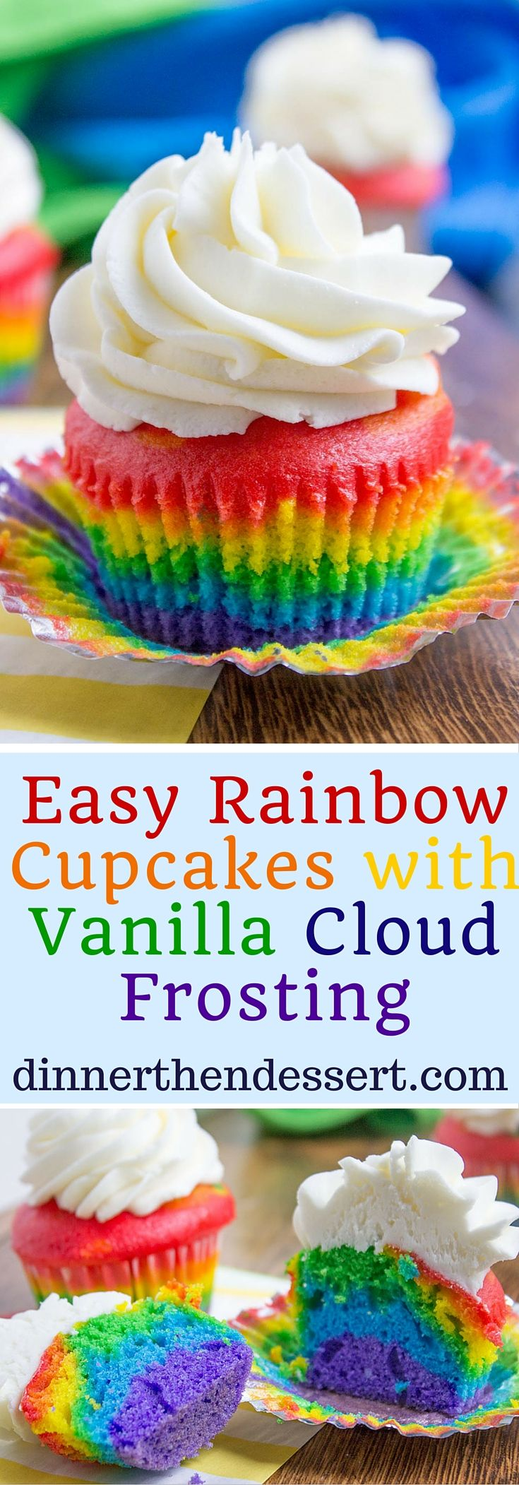 Rainbow Cupcakes With Fluffy Cloud Like Vanilla Frosting
