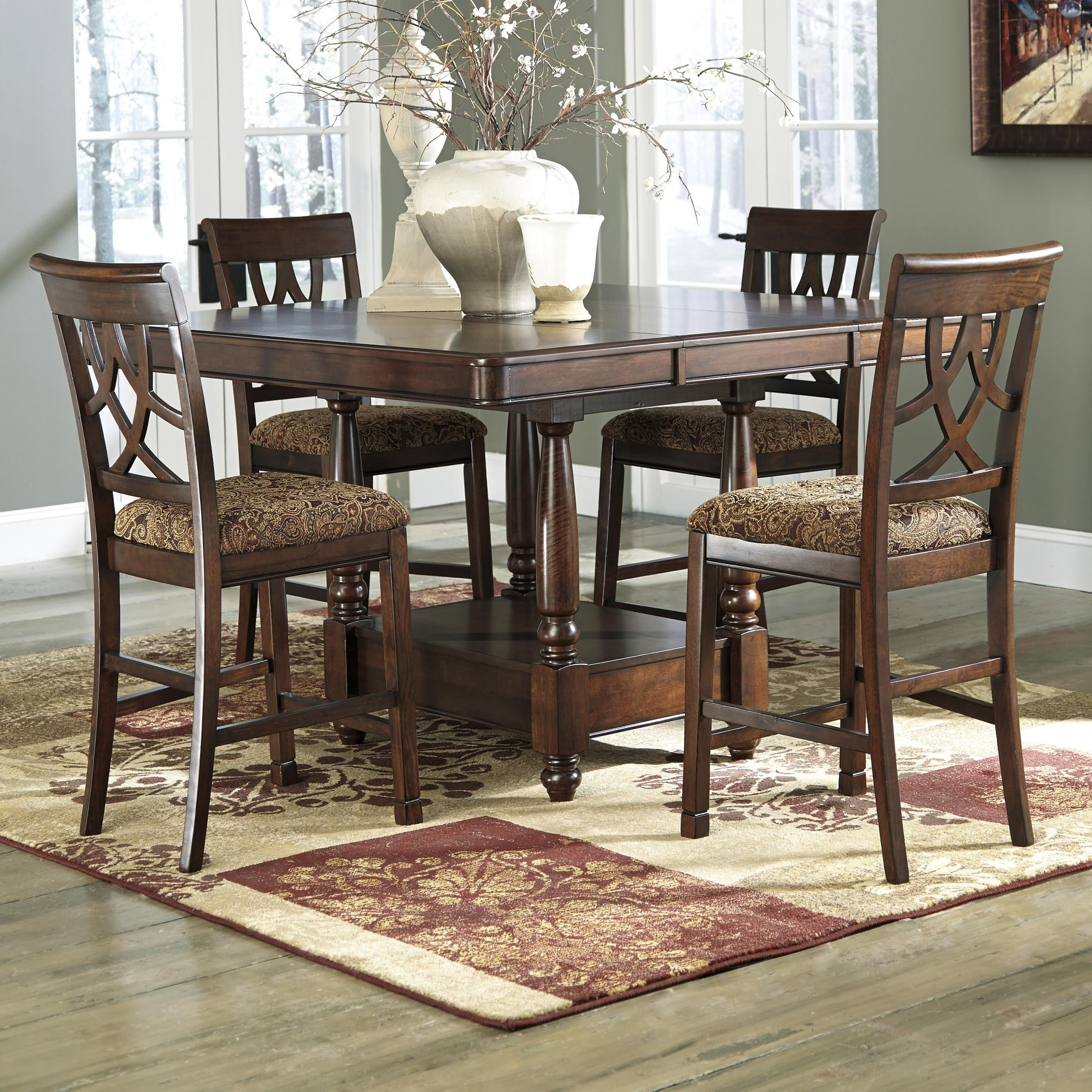 ashley furniture kitchen tables organizing cabinets leahlyn 5 piece dining room set table and 4 chairs by