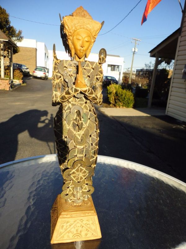Vintage Good Luck Balinese Coin Statue .great Home Decorated Sculpture Of Antique Chinese