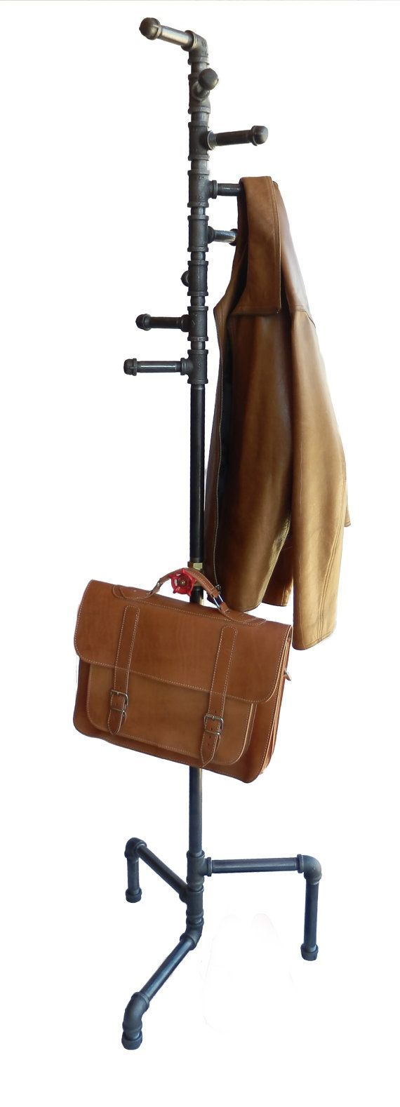Standing Coat Rack, Industrial Style Black Pipe Spiral