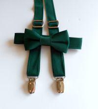 Hunter Green Bowtie and Suspenders Set | Dream Wedding