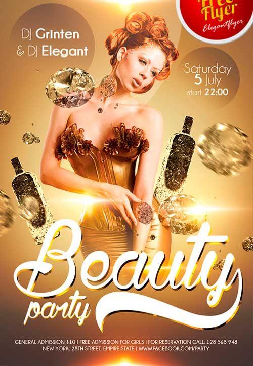 Free Beauty party PSD Flyer Template  httpfreepsdflyer