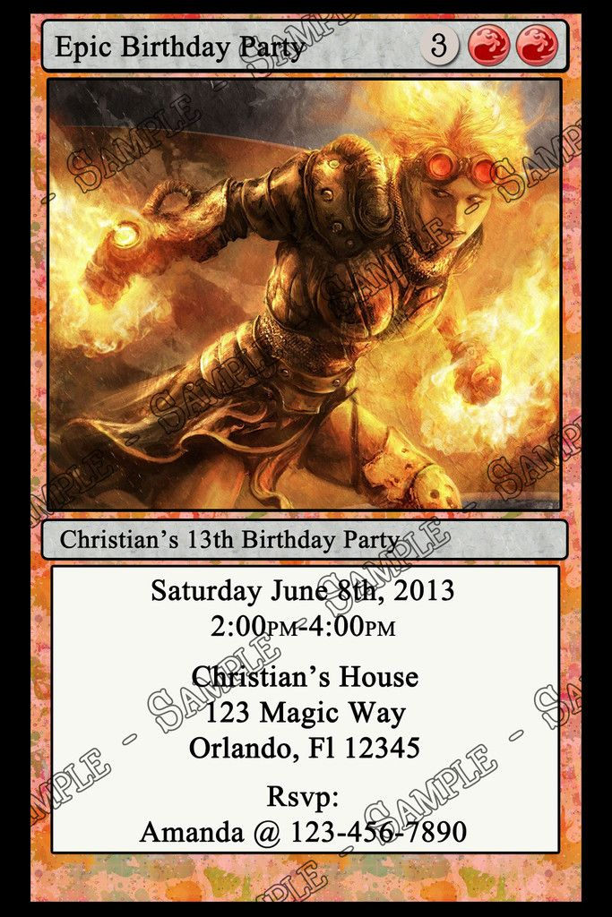 Magic The Gathering Birth Announcment Themed Birthday