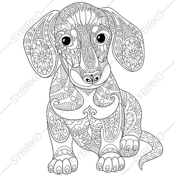Dachshund Sausage Dog Coloring Page. Adult by