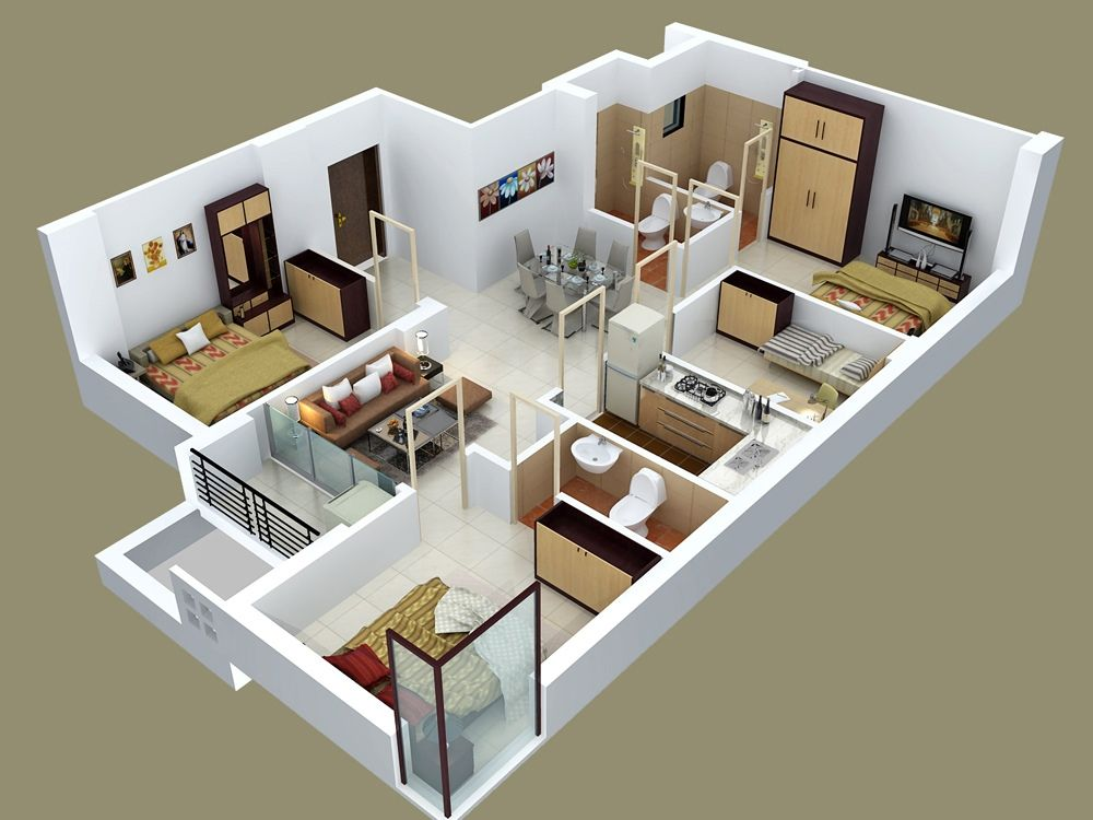 """50 Four """"4"""" Bedroom Apartment House Plans House Plans 98 And"""