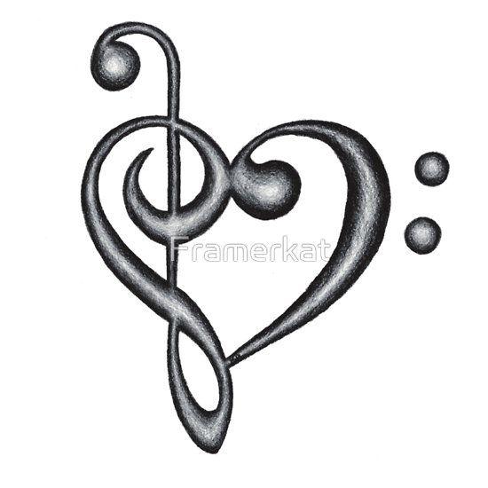 Hand Drawn Treble & Bass Clef Music Note Heart Symbol