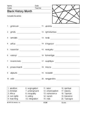 Black History Month Word Search and Word Scramble