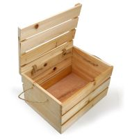 Natural Wooden Crate Storage Box with Lid - Medium would ...