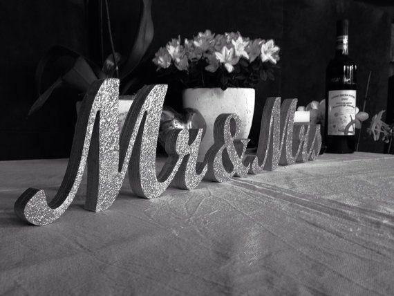 Glitter Mr. & Mrs. Letters