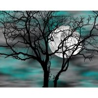 Teal Gray Wall Art/ Tree Moon/ Bedroom Decor Matted