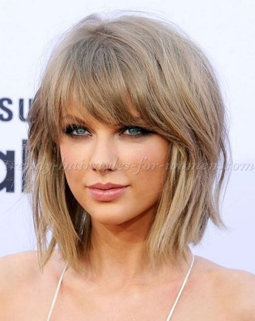 Medium Length Hairstyles Clavi Cut LOB Taylor Swift Shaggy Bob