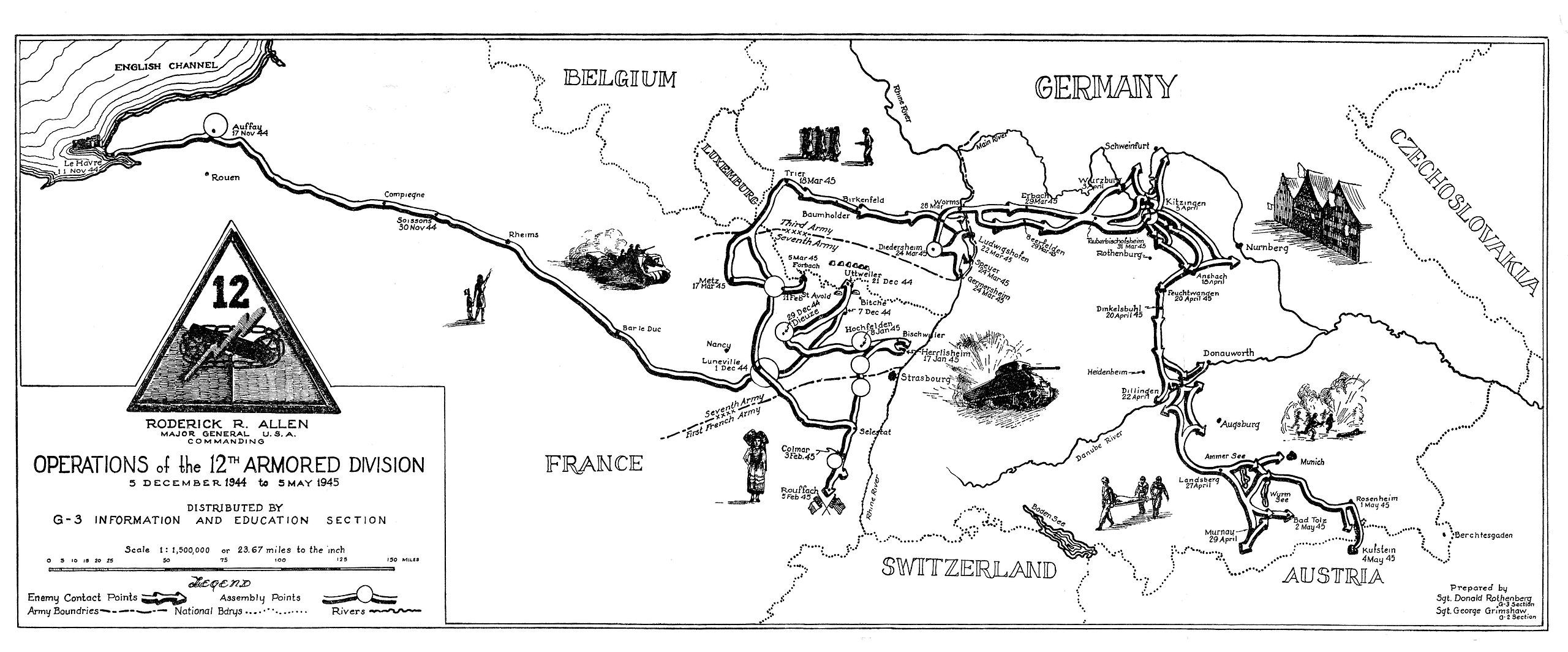 12th Armored Division Of The Us Army Route And Campaign